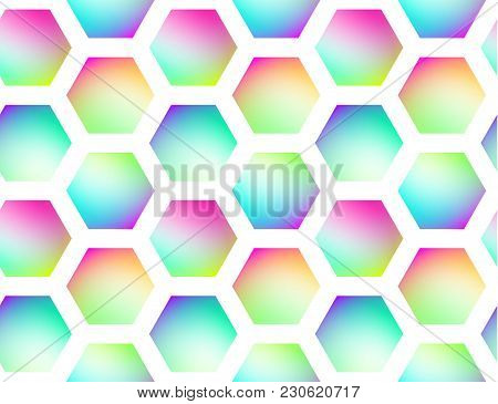 Holographic Geometric Vector Seamless Background. Hexagones Motif. Gradient Shapes. Colorflul Repeat