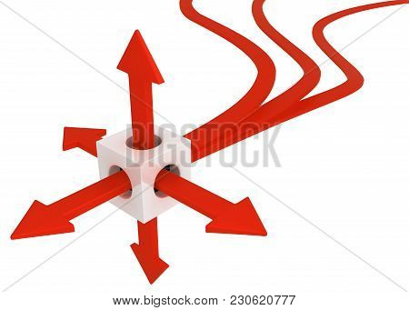 Red Symbolic Arrows Emerging From Cube, Line End, 3d Illustration, Horizontal, Over White