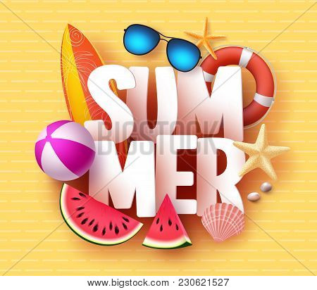 Summer Banner Design With 3d Text Title And Colorful Tropical Beach Elements In Yellow Pattern Backg