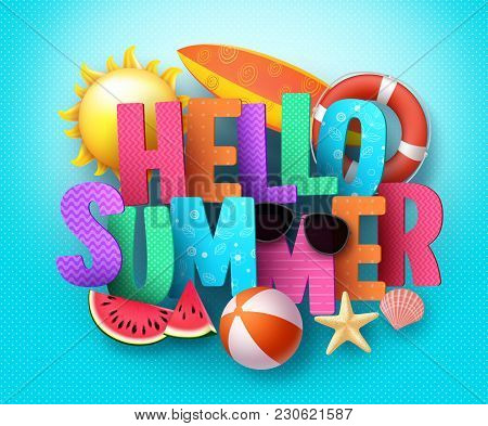 Hello Summer Vector Banner Greeting Design With 3d Text Typography And Colorful Beach Elements In Bl