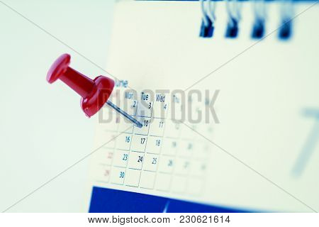 Red Pushpin On Calendar Page For Remind And Marked Important Events , Vintage Retro Color Tone