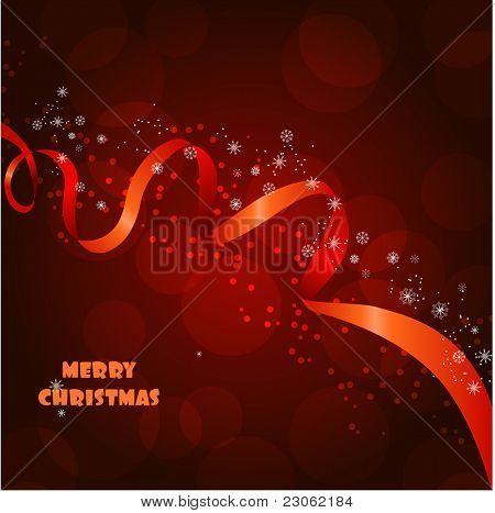 Beautiful christmas background with red ribbon