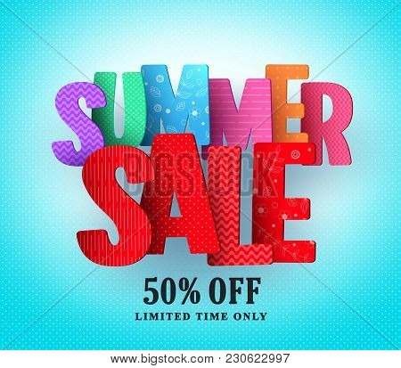 Summer Sale Vector Banner Design With Colorful Sale And Discount Text In Blue Pattern Background For