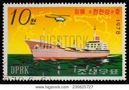 Moscow, Russia - March 11, 2018: A Stamp Printed In Dprk (north Korea) Shows Korean Ship, Freighter