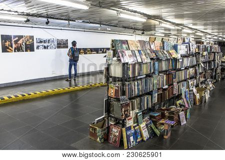 Sao Paulo, Sp, Brazil, April 12, 2017. People On Interior Of The Public Literary Passage Of Consolac