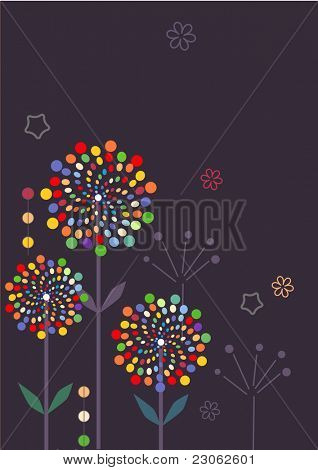 Abstract muli-colored flowers on grey background. Raster version. Vector version is in my gallery.