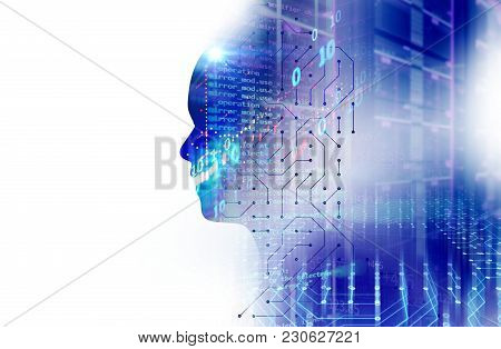 Silhouette Of Virtual Human On Circuit Pattern Technology 3D Illustration