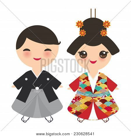 Japanese Boy And Girl In National Costume. Kimono, Cartoon Children In Traditional Dress. Japan Saku