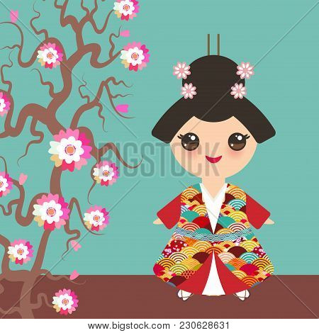 Japanese Girl In National Costume. Kimono, Cartoon Children In Traditional Dress. Japan Wave Circle
