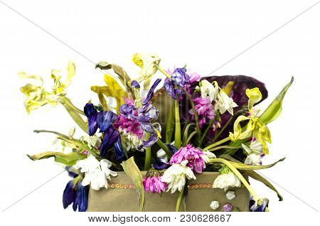 Withered Flowers Bouquet In A Box On White Isolated Background