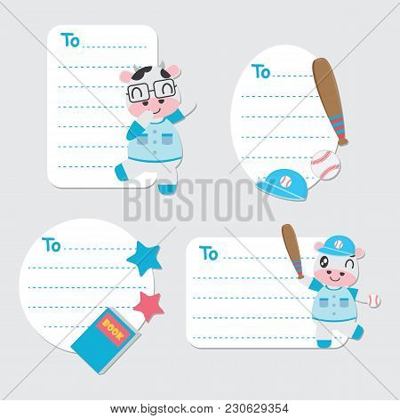 Cute Cow Boy And Toys Vector Cartoon Illustration For Birthday Gift Tags Design, Postcard And Sticke