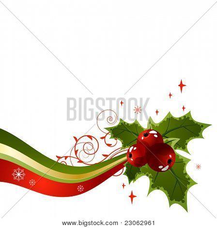 Holly christmas design element