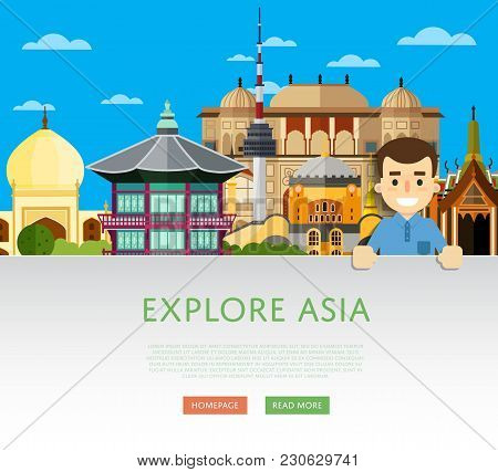 Explore Asia Template With Smiling Tourist On Background Of Famous Traditional And Modern Attraction