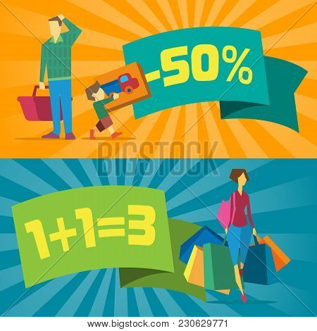 Sale Banners With Shopping People  Illustration. Price Clearance Concept, Super Sale Promo, Discount