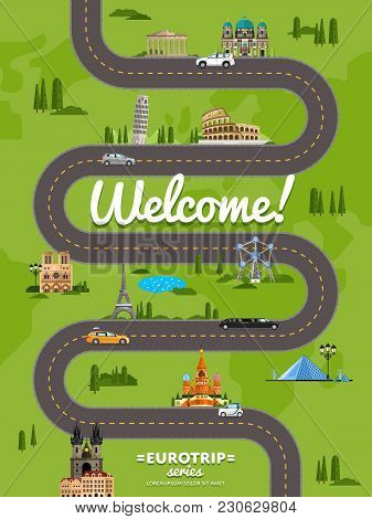 Welcome To Europe Poster With Famous Attractions Along Winding Road  Illustration. Travel Concep Wit
