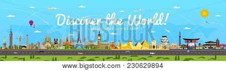 Discover The World Poster With Famous Attractions  Illustration. Taj Mahal, Todaydzi, Sagrada Famili
