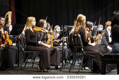 Joliet, Illinois / United States - March 20, 2016: Members Of The Metropolitan Youth Symphony Orches