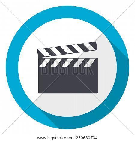 Video blue flat design web icon