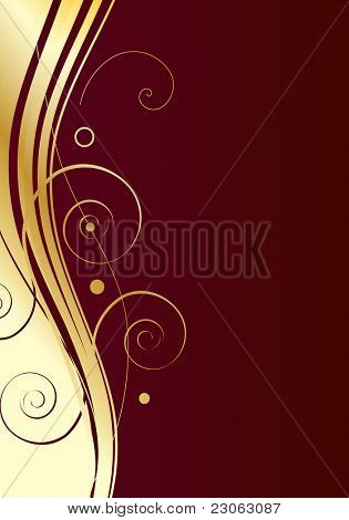 Gold swirls on dark red background. Raster version. Vector version is in my gallery.