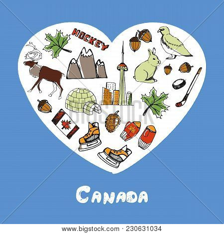 Love Canada. Dotted Heart Filled With Colored Doodles Associated With Canadian Nation  Illustrations