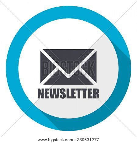 Newsletter blue flat design web icon