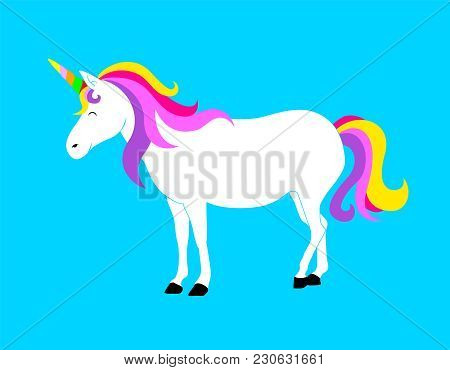 Cute Magic Unicorn. Cartoon Fantasy Animal. Vector Illustration Isolated On Blue Background. Dream S