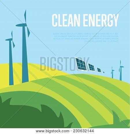 Clean Energy  Illustration. Wind Turbines In Green Field On Background Of Blue Wavy Sky. Windfarm Po