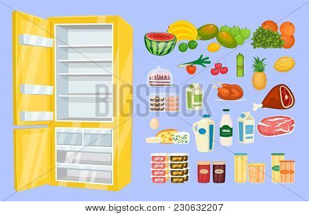 Space Organization In Freezer. Variety Daily Products With Opened Fridge  Illustration Isolated On B