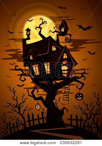 Halloween Party Background With Silhouette Of Castle In Mystic Spooky Forest At Night. Castle On The