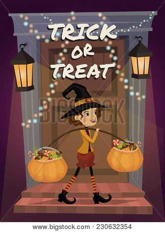 Trick Or Treat Lettering. Child In Halloween Costume With A Pumpkin Full Of Treats. Halloween Night