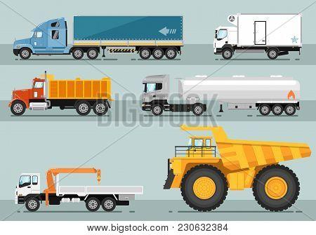 Different Commercial Trucks. Lorry, Freezer, Tipper, Road Tanker, Mounted Crane, Mining Trucks  Illu
