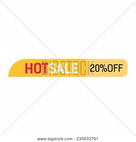 Hot Sale, Twenty Percent Off Lettering. Yellow Banner Design. Inscription Can Be Used For Leaflets,