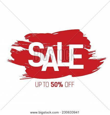 Sale, Up To Fifty Percent Lettering On Red Brushed Strokes. Inscription Can Be Used For Leaflets, Po