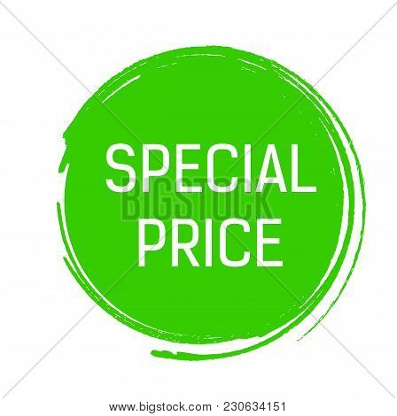 Special Price Lettering In Green Ink Circle. Inscription Can Be Used For Leaflets, Posters, Banners.