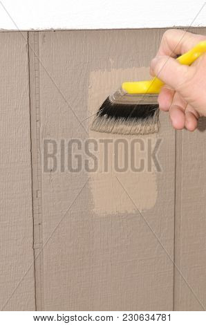 hand painting T111 siding on a house, ensuring to get paint in the grooves