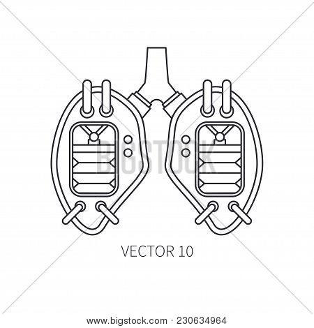 Bionic Lungs Prosthesis Line Icon. Bionic Prosthesis. Biotechnology Futuristic Medicine. Future Tech