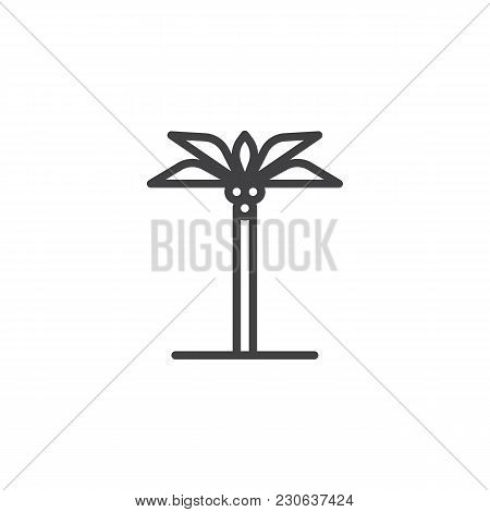 Palm Tree Outline Icon. Linear Style Sign For Mobile Concept And Web Design. Coco Palm Simple Line V