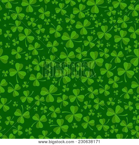 St Patricks Day Background With Green Clover Leaves