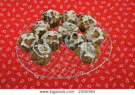 Cinnamon Streusel Cupcakes On Cooling Rack
