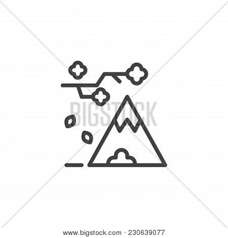 Tree Branch With Falling Leaves And Mountain Outline Icon. Linear Style Sign For Mobile Concept And