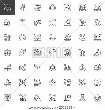 Nature Landscapes Outline Icons Set. Linear Style Symbols Collection, Line Signs Pack. Vector Graphi