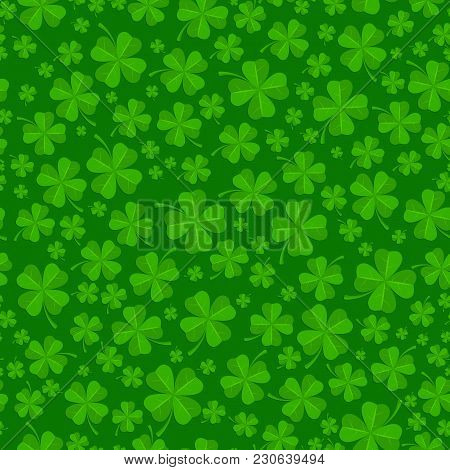 St Patricks Day Background With Lucky Green Clover Leaves