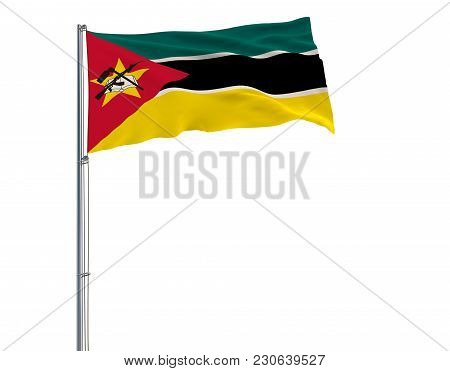 Isolate Flag Of Mozambique On A Flagpole Fluttering In The Wind On A White Background, 3d Rendering