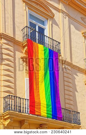 Gay Flag On Palau De La Batlia Near Palace Of The Generalitat (g