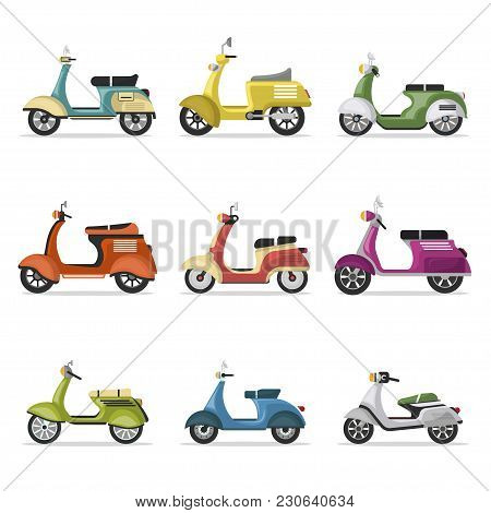 Vintage Scooters Set In Flat Style. Old Style Motorbike, Classic City Motorcycle, Food Delivery Mope