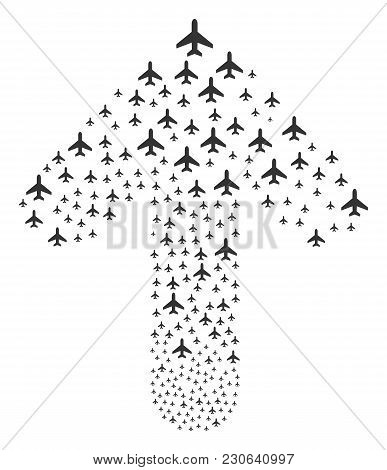 Air Plane Illustration Combined In The Shape Of Upwards Motion Arrow. Up Cursor Arrow Shape Composed