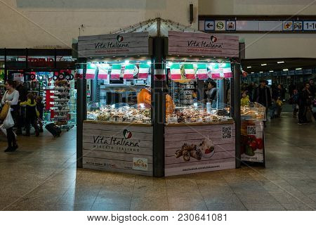 Stuttgart, Germany - March 04, 2017: Point Of Sale (vita-italiana) Of Italian Delicacies (cheeses, S