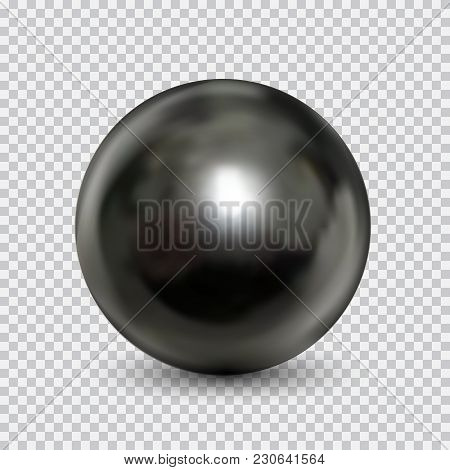Chrome Metal Ball Realistic Isolated On White Background. Spherical 3d Orb With Transparent Glares A