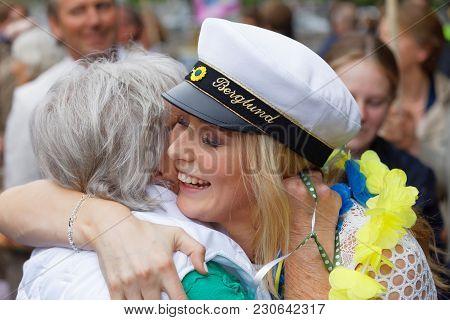 Stockholm, Sweden - Jun 13, 2017: Proud Grandmother Hugging Her Graduating Daughter At The Dance Sch