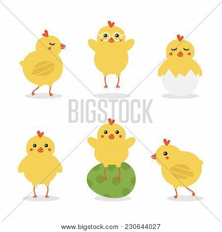Cute Cartoon Easter Baby Chicken Characters Doing Different Activities, Walking, Jumping, Sitting On